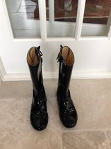 Girls Black Patent Leather Boots Size 3 in Plainfield, Illinois