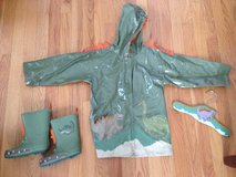 Kidorable Dinosaur Rain Coat (4T) and boots (9) in Schaumburg, Illinois
