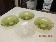 3 Green Bubble Design Depression Glass Saucers in Houston, Texas